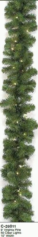 "Prelit Virginia Pine 10"" Garland"