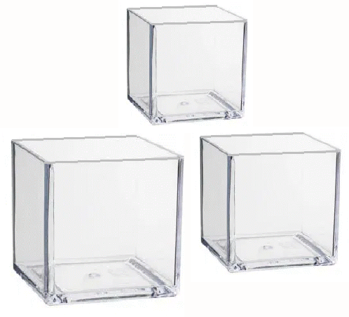 Clear Cube Vases from Royal and Diamondline